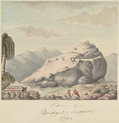 View of Dindigul with an English officer and an Indian in the foreground